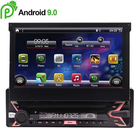 7 Pulgadas Android 9.0 estéreo navegación del GPS para vehículos universales 1 DIN en el Tablero de Unidad Principal Bluetooth Hnadsfree Coche FM/Am 1 GB / 16 GB de Alta definición con