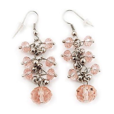 boucles d'oreilles pendantes rose pale