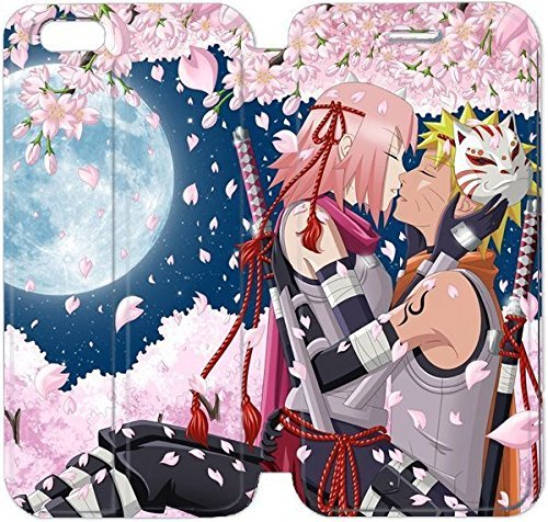 Fashion image DIY art hanabi rin anime naruto uzumaki naruto haruno sakura girl man night moon trees cherry PU Leather Flip Stand Cell Phone Case Cover for Apple iPhone 6 6S 4.7 inch HBT4182159