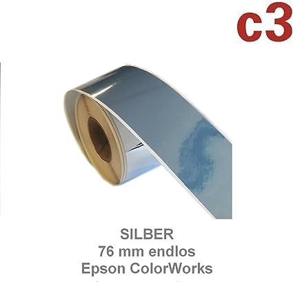 Etichette argentate 76 mm per Epson Colorworks C3500