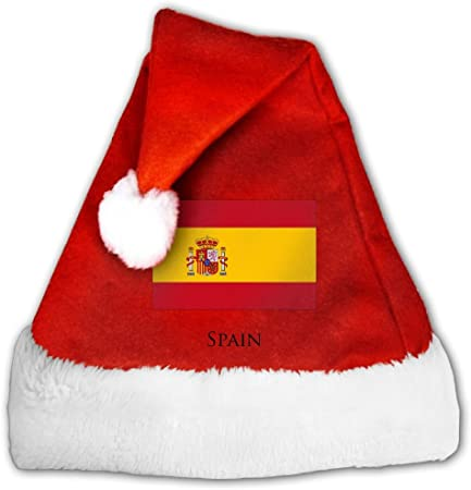 Bandera de España de Navidad de terciopelo rojo sombrero o Niza Festive vacaciones sombrero Gorro de Papá Noel con borde de felpa para adultos y niños: Amazon.es: Hogar