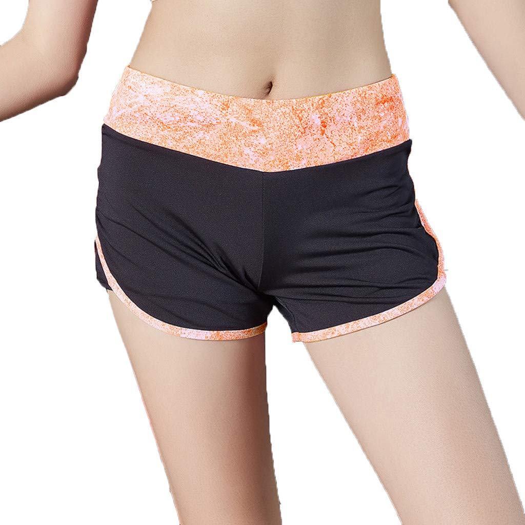 Sunyastor Women's Dolphin Running Workout Shorts Yoga Sport Fitness Short Pant Performance Elastic WAIS Printed Shorts S-L Orange