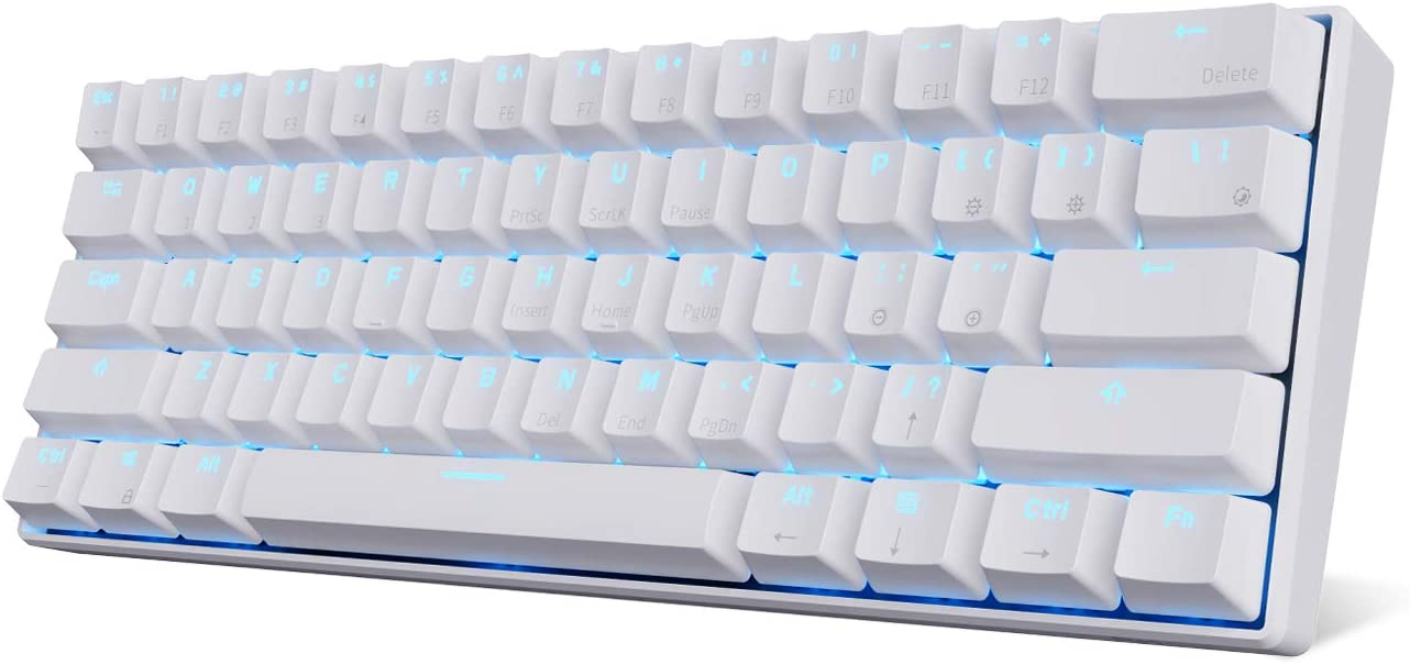 RK ROYAL KLUDGE RK61 Wireless 60% Mechanical Gaming Keyboard, Ultra-Compact Bluetooth Mechanical Keyboard with 10 Hours Battery Life and Blue Switches, Compatible for Multi-Device Connection, White