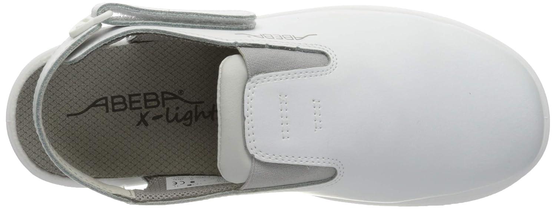 Zueco de piel lisa talla 36 color blanco Abeba Clog 711030 x-Light