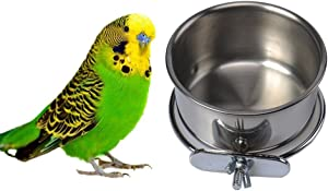 Hypeety Pet Bird Food Feeding and Drinking Hanging Cup Clamp Holder Stainless Steel Hanging Bowl for Parrot Macaw African Greys Budgies Parakeet Cockatiels Conure Lovebirds Finch Pigeon Cage