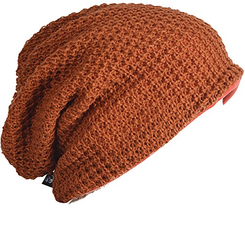 FORBUSITE Mens Slouchy Long Oversized Beanie Knit Cap for Summer Winter B08 (Rust)