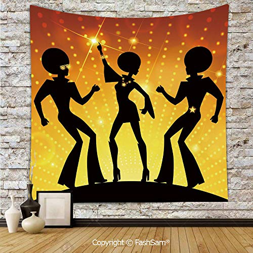 FashSam Tapestry Wall Hanging Dancing People Disco Night Club Afro Hairs Gold Colored Bokeh Decorative Tapestries Dorm Living Room Bedroom(W59xL78) -