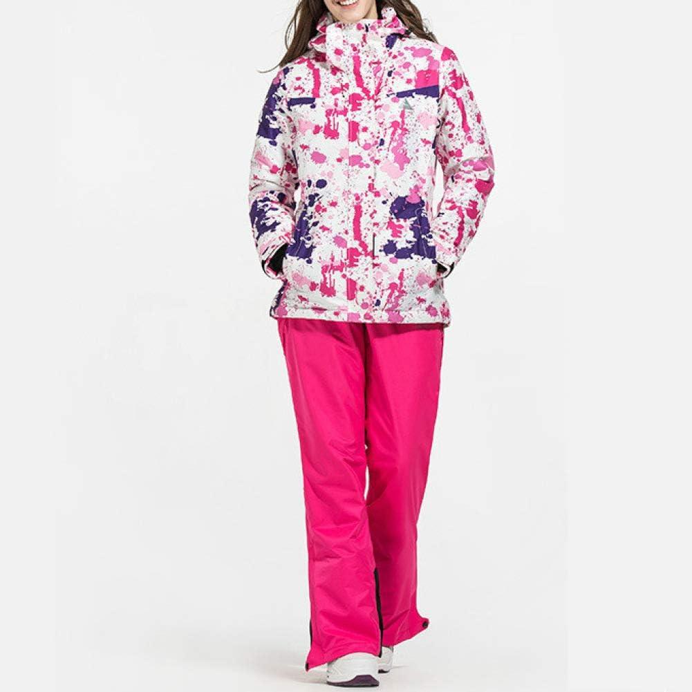 PsemesP Women's Ski Suit Sports Warm Windproof Waterproof Quick Drying Breathable Ski Jacket Ski Suspender Trousers one45