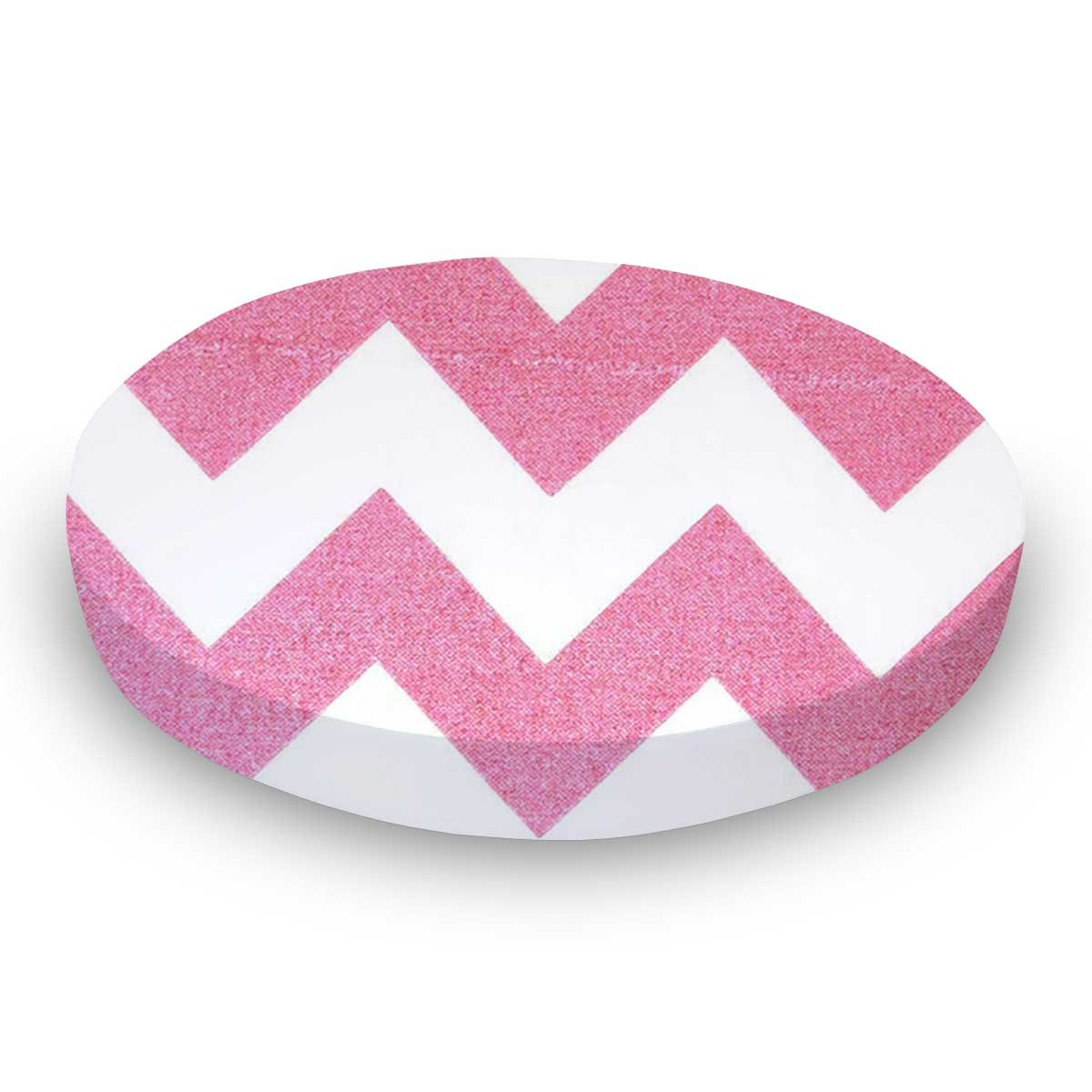 SheetWorld Fitted 100% Cotton Percale Oval Crib Sheet, Fits Stokke Sleepi 26 x 47, Sparkly Pink Chevron, Made in USA