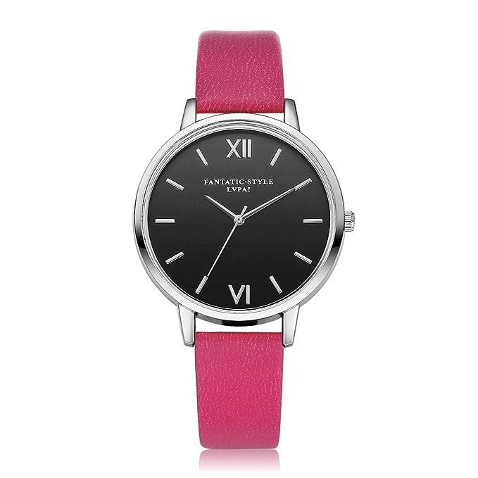 DressLksnf_Reloj Moda para Mujer Pulsera del Reloj Metal Durable Brazalete de Reloj Bonito Cadena de Cuero Elegante Superficie de Original Color Puro: ...