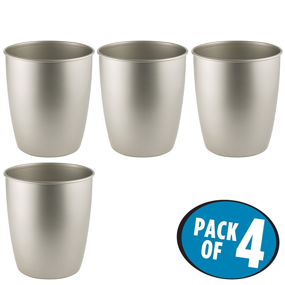 mDesign Round Metal Small Trash Can Wastebasket, Garbage Container Bin for Bathrooms, Powder Rooms, Kitchens, Home Offices - Pack of 4, Durable Steel with Satin Finish