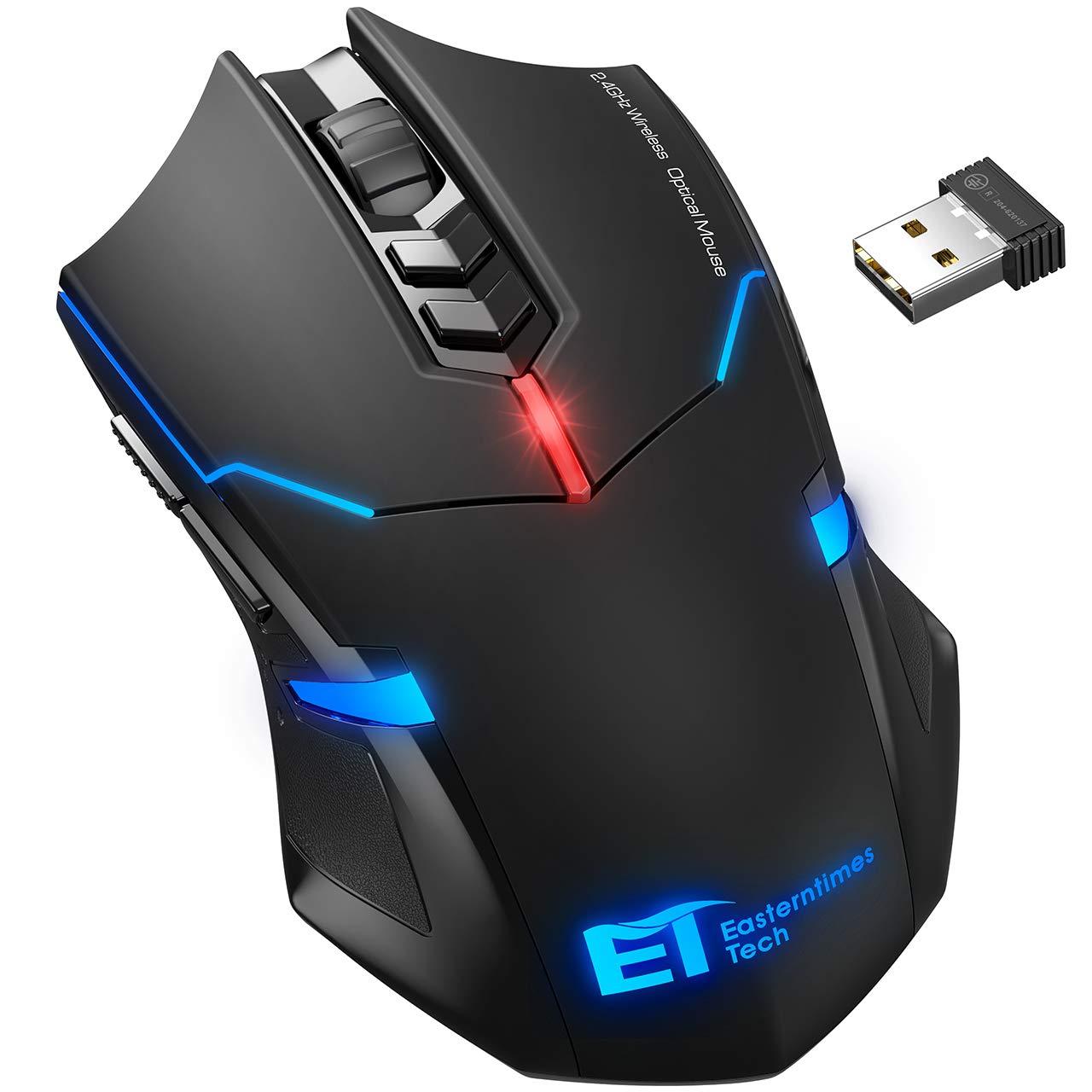 Qtuo ワイヤレス マウス ゲーミングマウス 2.4G ゲーマーマウス 超静音 5段階DPI調整可能 省電力 LEDライト 無線 ゲームマウス(ブラック)