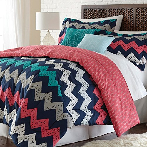 4 Piece Pale Pink Green Teal Blue Gray White Chevron Zig Zag Comforter Twin XL Set, Reversible Print Multi Colored Pattern, Ziggy Zag Bedding, Goovy Zigzag Design, Vibrant Colors!