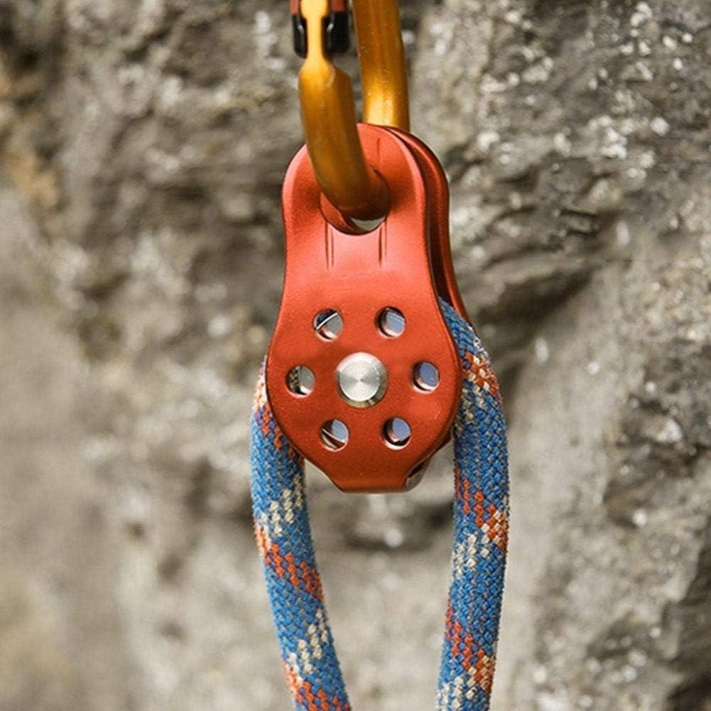 Starbun Roldana - Naranja 26KN aleación de Aluminio for Trabajo Pesado Individual giratoria Cuerda de Bloque de polea de 12mm Cuerda