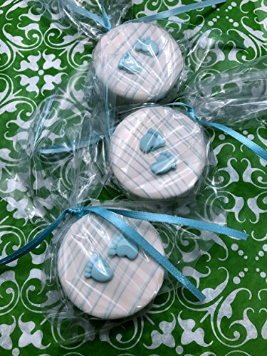 It's a Boy Chocolate Covered Oreo's Cookies (12) Baby Boy Feet Blue Baby Shower Party Favors Fuzzy Ducks (Dipped Cookies Gourmet)