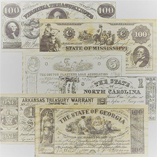 Civil War Currency - Replica Confederate Currency Set A, B, C, & D