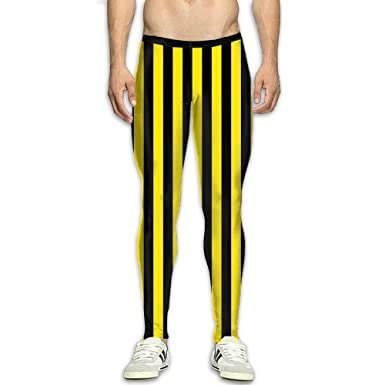 b3eafd7a53 Fri Yellow And Black Breathable Compression Pants/Running Tights Panel  Leggings Men Adult Tall