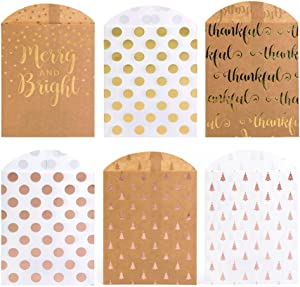 UNIQOOO 72Pcs Metallic Gold Foil Christmas New Year Treat Bags Bulk, 6 Design Merry Bright Pine Tree Pink Polka Dots, Food Grade Paper Pastry Candy Cookie Goodie Bag, Party Favors Decor, 7½ x4¾ Inch