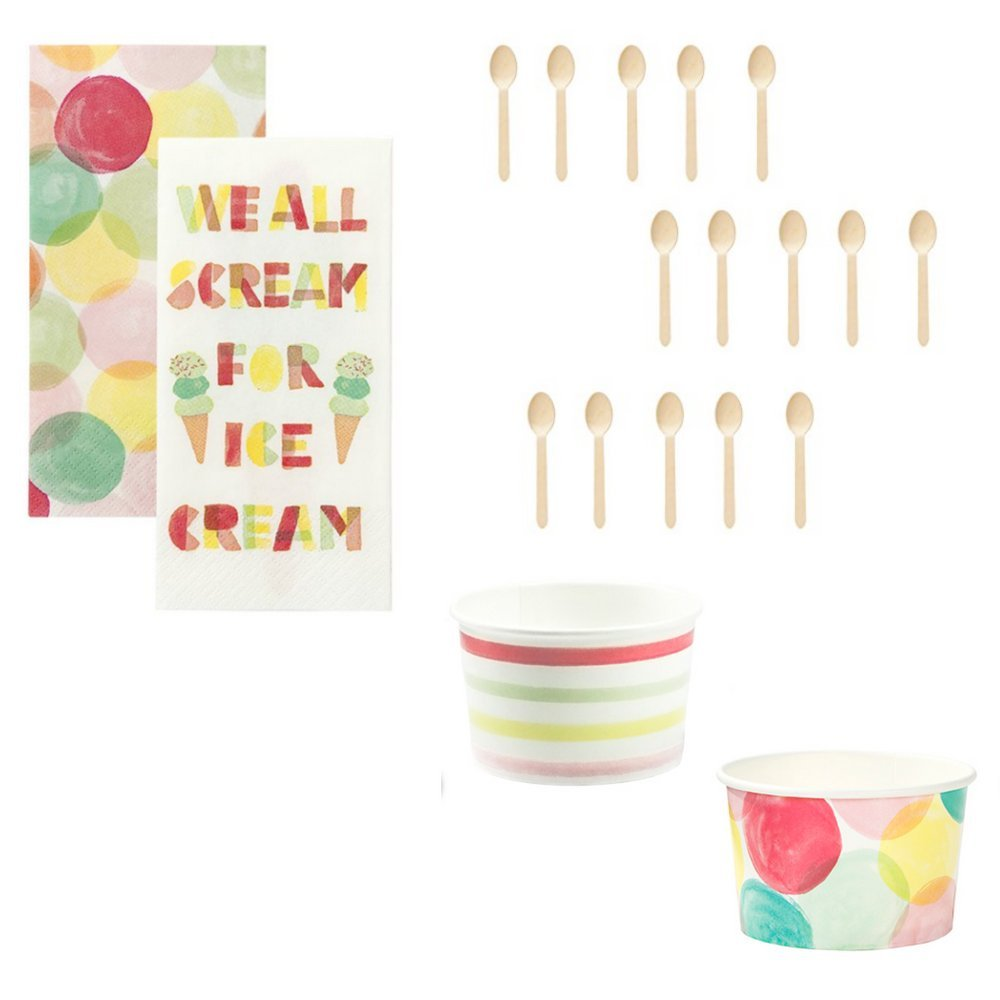 Ice Cream Party Supplies Set Treat Cups, Wooden Spoons with Sprinkles & Matching ice Cream Theme Napkins Serves 20 Guests