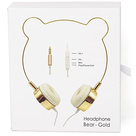 Lux Accessories Rose Gold Cat Ear Headphones Wire Frame Headset w Microphone lc7YD7b
