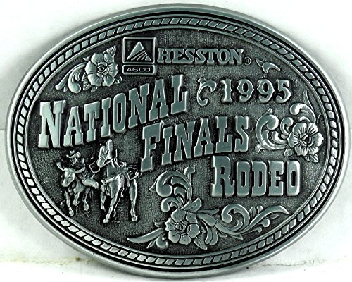 Hesston 1995 NFR Commemorative Series National Finals Rodeo Belt Buckle, Silver