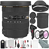 Sigma 10-20mm f/3.5 EX DC HSM Autofocus Zoom Lens For Canon DSLRs and Bundle w/ Remote + Xpix 2-in-1Tripod + Deluxe Xpix Cleaning Kit + More