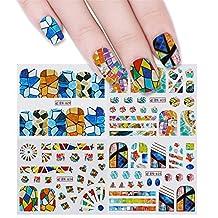 BORN PRETTY 12 Patterns Big Sheet Water Decal Colorful Geometry Manicure Nail Art Transfer Sticker
