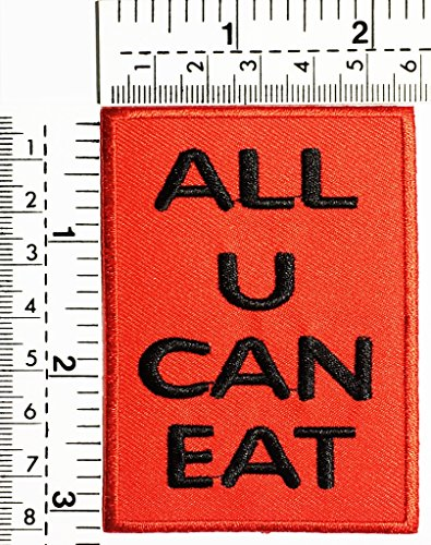 All U Can Eat Letter Joke Funny Words Kids Cartoon Patch Applique for Clothes Great as Happy Birthday Gift