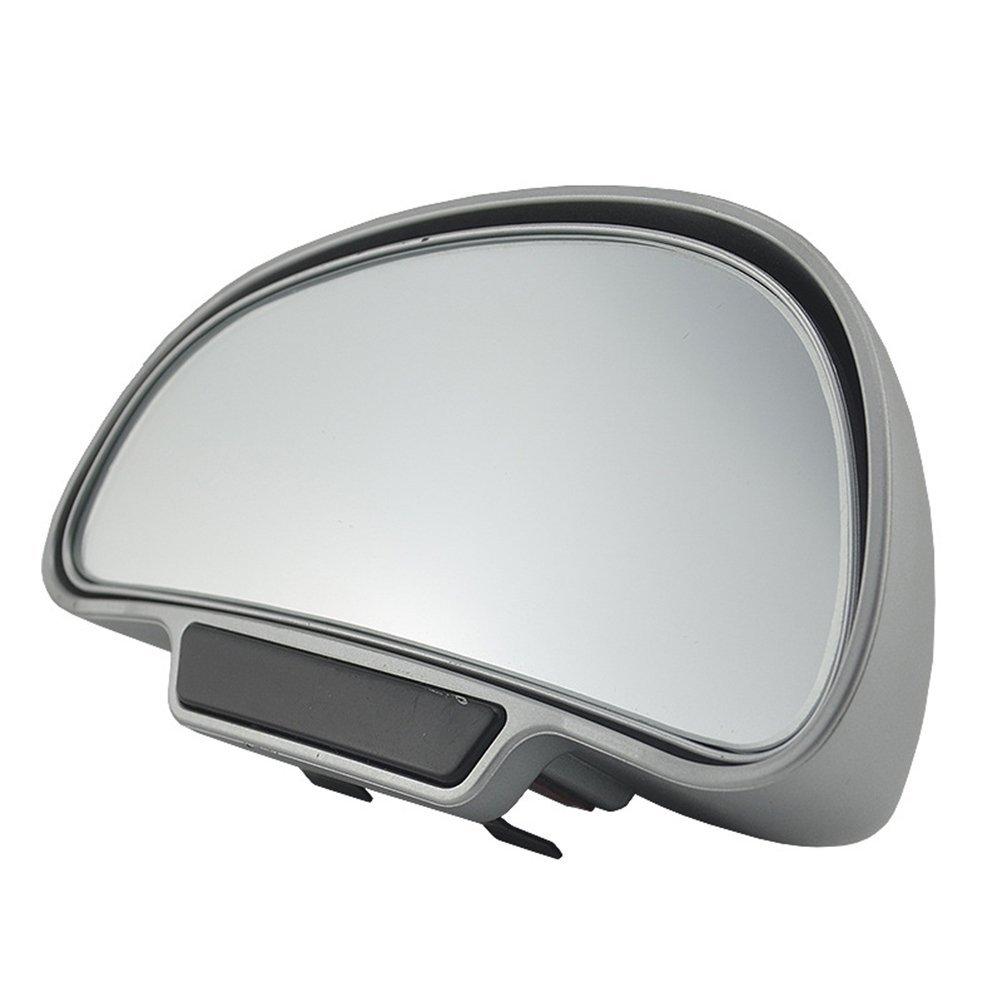 Vosarea Alta Calidad 360 Grados Ajustables Espejos de Formato de la Parte Trasera Amplia Espejo de Punto Ciego para aparcar Espejos retrovisores auxiliares Lado Derecho de Plata