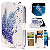 Samsung Galaxy S3 Case, Luxury Dual Wallet Case [9 Card Holder] Premium PU Leather Multifunctional Embossing Pattern Book Style Magnetic Flip Stand Feature Cover Slim Protective Money Pocket Bumper - Blue Feather