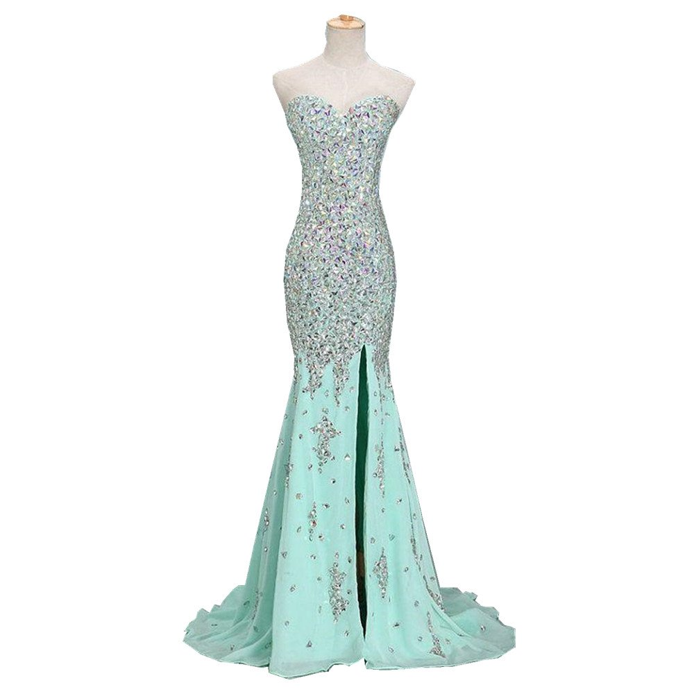 Uryouthstyle Beaded Crystals Prom Dresses Long Mermaid Evening Gowns US16 Mint Green
