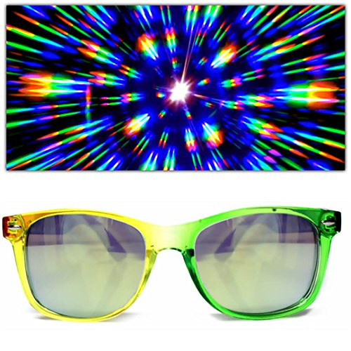 GloFX Transparent Rainbow Diffraction Glasses - Gold Mirror - Rave Rainbow EDM - Glasses Rave Diffraction