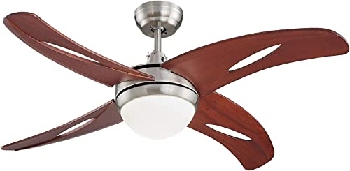 Lampsmore Indoor Ceiling Fan 42 inch 4 Solid Wood Blades With Remote Control 18W LED