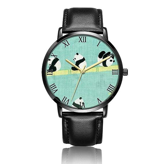 Reloj de Pulsera Personalizado de Alpaca Cactus, Correa de Reloj de Cuero Negro con Placa de Esfera Negra, Reloj de Pulsera de Moda para Mujeres o Hombres: ...
