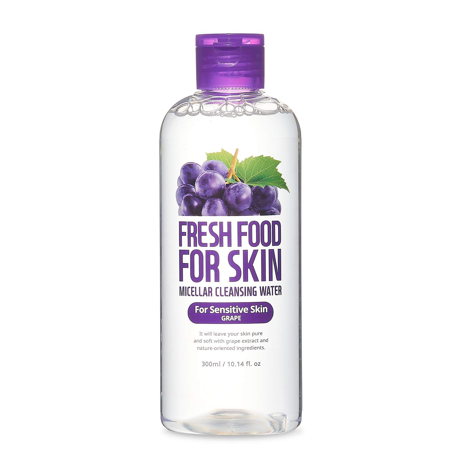 FARMSKIN Fresh Food For Skin Micellar Cleansing Water Face Cleansing Makeup Remover for Sensitive Skin Grape, 10.14 Fl Oz