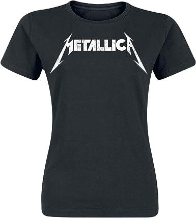 Metallica Textured Logo Mujer Camiseta Negro, Regular: Amazon.es: Ropa y accesorios