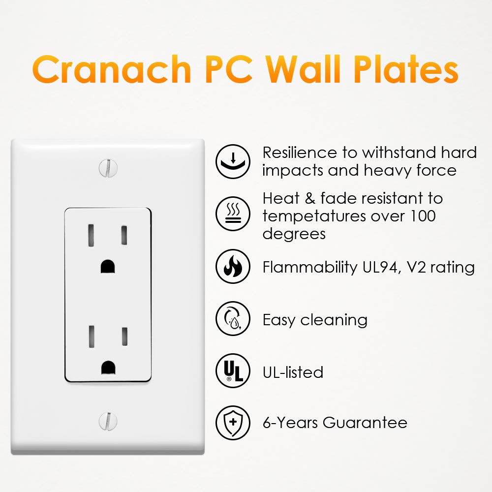 Outlet Covers, 1 Gang Decorator Wall Plates Light Switch Cover White Electrical GFCIs Receptacle Wallplate, Standard Size, Unbreakable Polycarbonate, 12 Pack by CRANACH (Image #7)