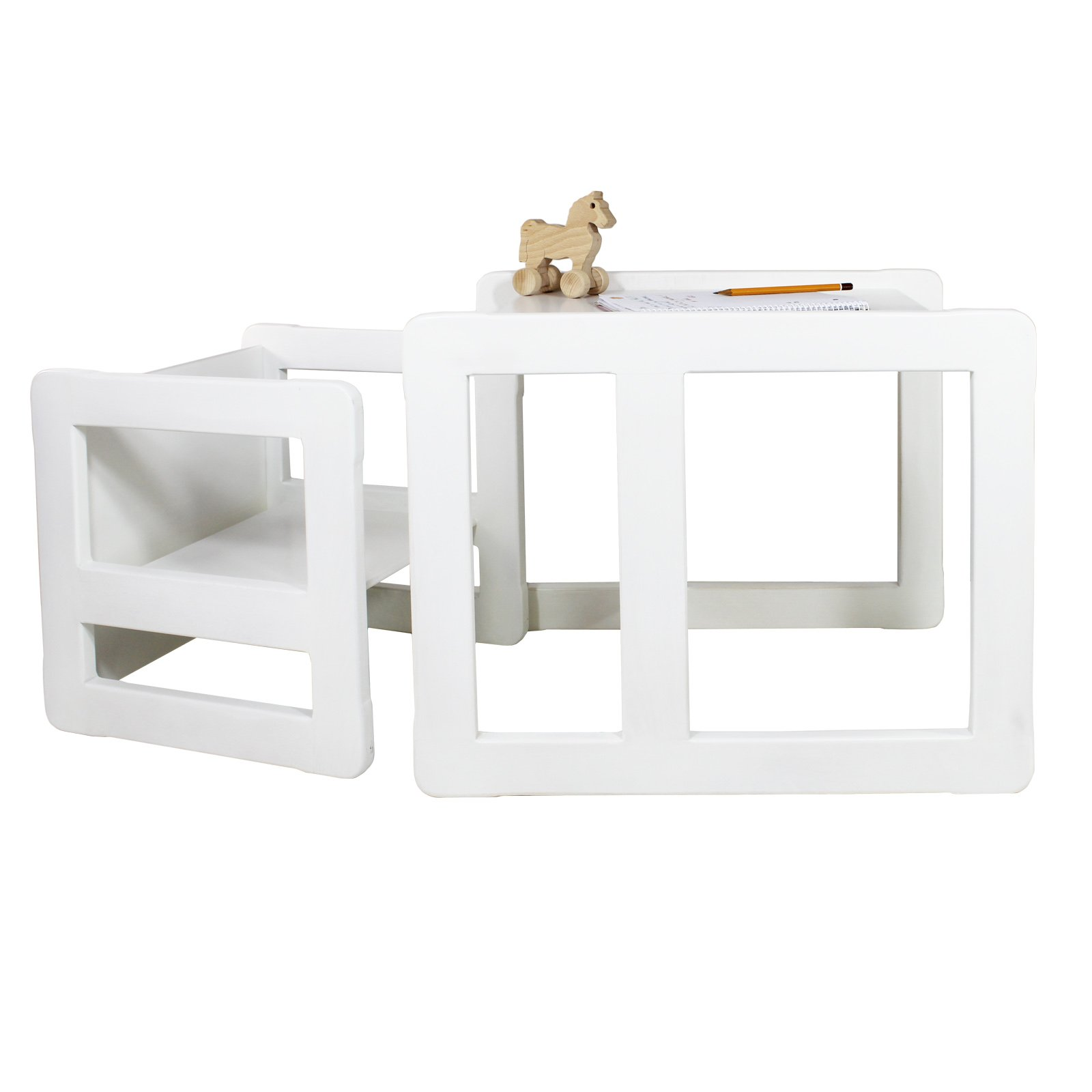 3 in 1 Childrens Multifunctional Furniture Set of 2, One Small Chair or Table and One Large Chair or Table Beech Wood, White Stained