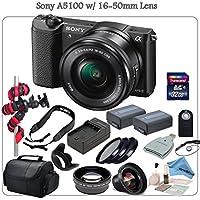 Sony A5100 Mirrorless Digital Camera Bundle with 16-50mm (Black) & eDigitalUSA Premium Kit