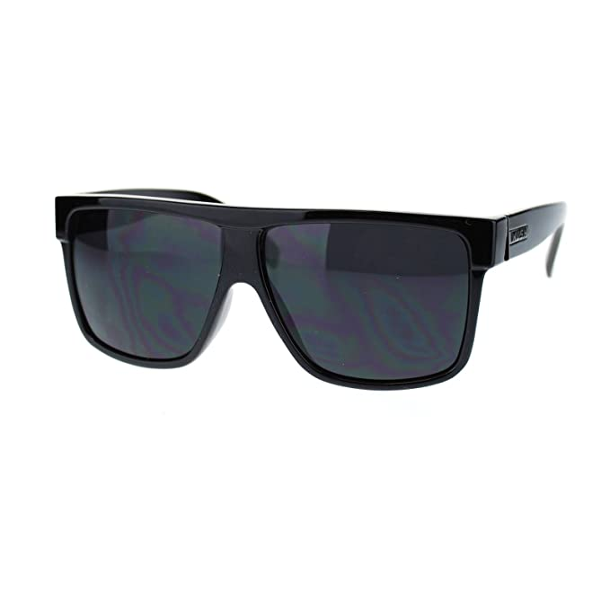 93fb73af3dea Amazon.com  KUSH Men s Sunglasses Flat Top Square Frame Black Dark Lens   Clothing