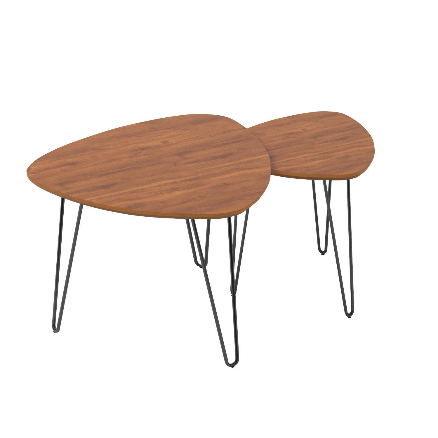 WE Furniture Hairpin Leg Wood Nesting Coffee Table Set - Walnut by WE Furniture (Image #6)