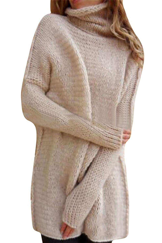 Viottis Women's Batwing Sleeve Turtleneck Loose Pullover Knit Sweater