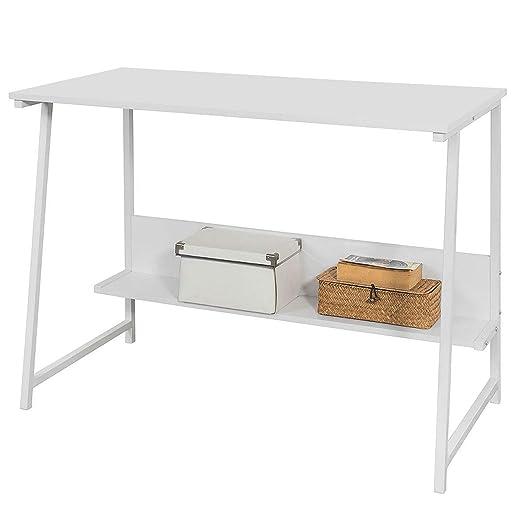SoBuy FWT34-W Mesa de Escritorio, Mesa de Ordenador con 2 estantes ...