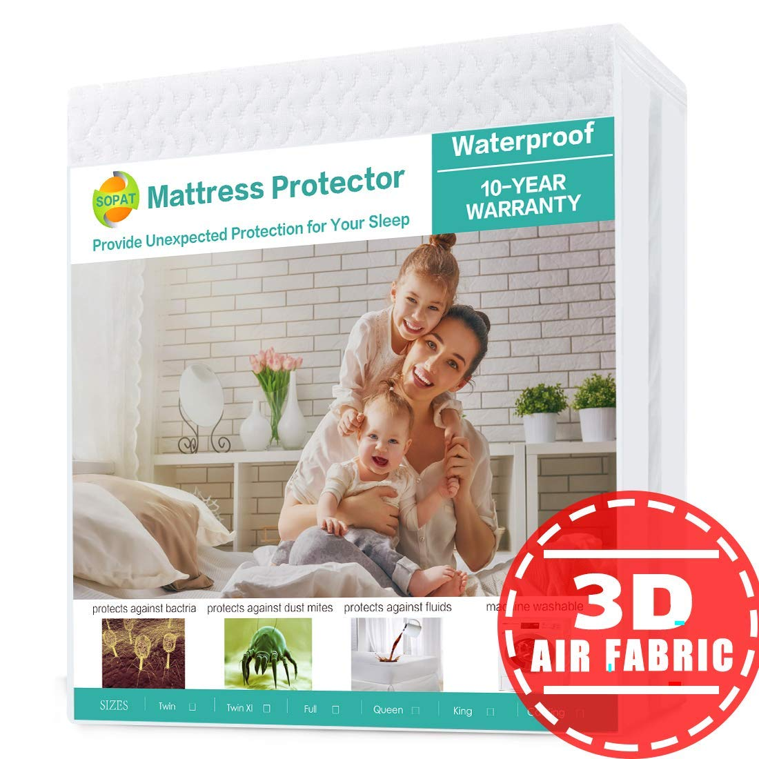 SOPAT Cal King Mattress Protector 100% Waterproof Mattress Pad Cover,3D Air Fabric,Breathable Smooth Soft Cover
