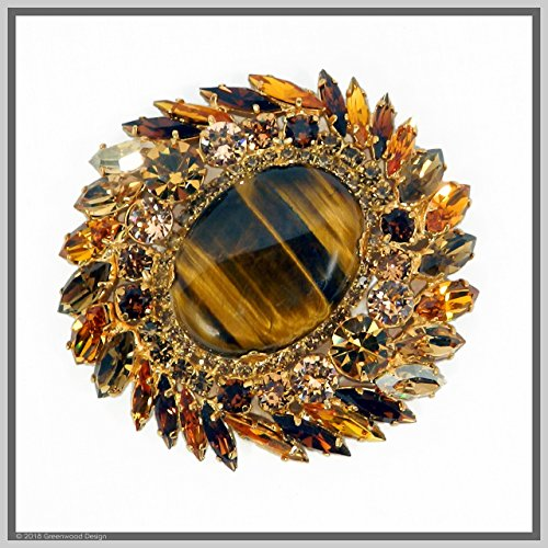 Hand Made Designer Jewelry Art Tiger Eye Brooch Pin with Swarovski Stones Gold Plated by Jewelry by Crystal Countess