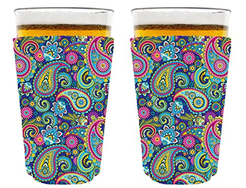 Coolie Junction Paisley Pattern Pint Glass Coolie 2 Pack