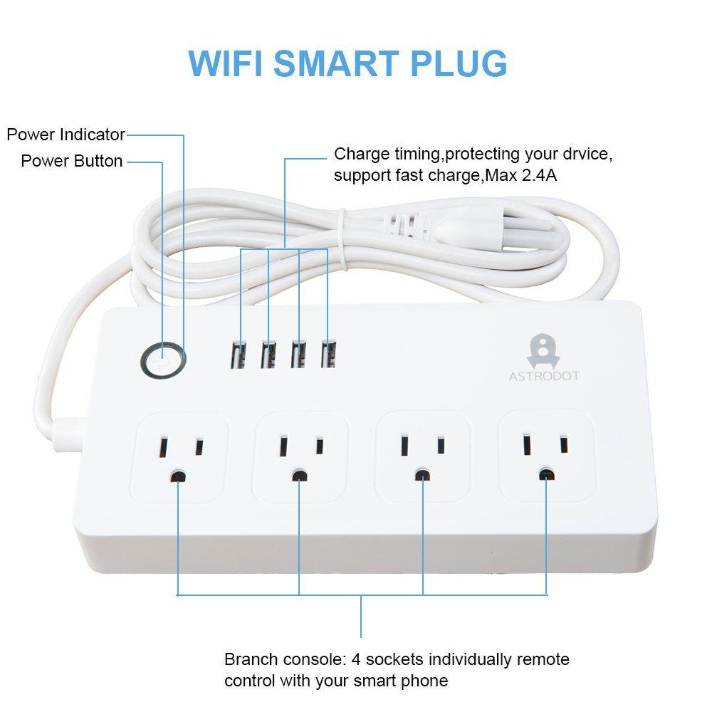 ASTRODOT WiFi Smart Power Strip Surge Protector, Smart Plug Remote