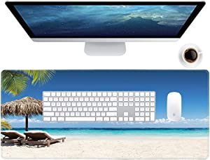 Galdas Gaming Mouse Pad Beach Pattern XXL XL Large Mouse Pad Mat Long Extended Mousepad Desk Pad Non-Slip Rubber Mice Pads Stitched Edges Thin Pad (31.5x11.8x0.08 Inch)- Tropical Palm Sea and Beach