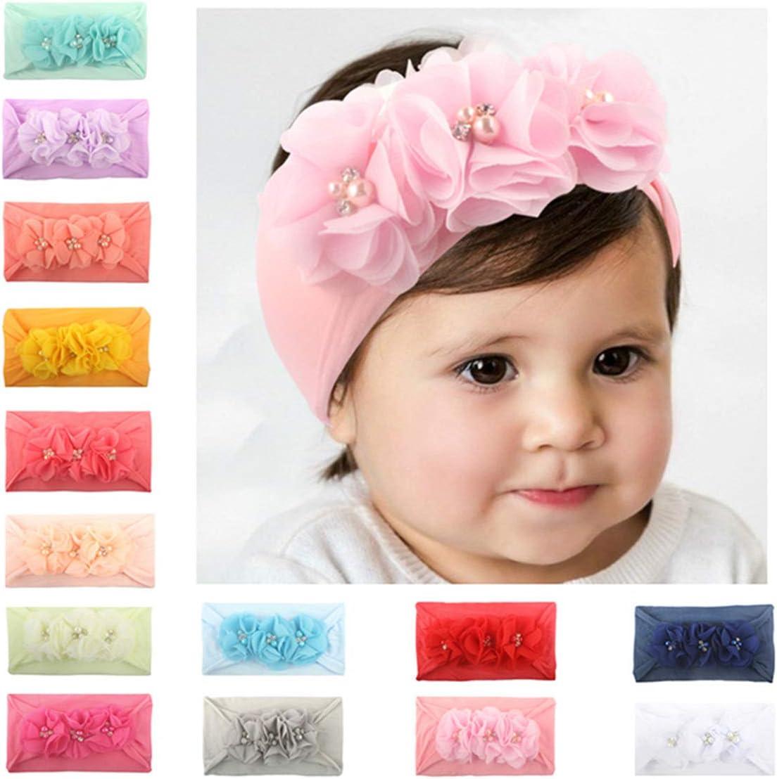 Fascia per capelli moderna per bambina in cotone disegno con dettagli a nodi e stelle e pois 4 pezzi M.M.C per bambini da 1 mese a 10 anni.