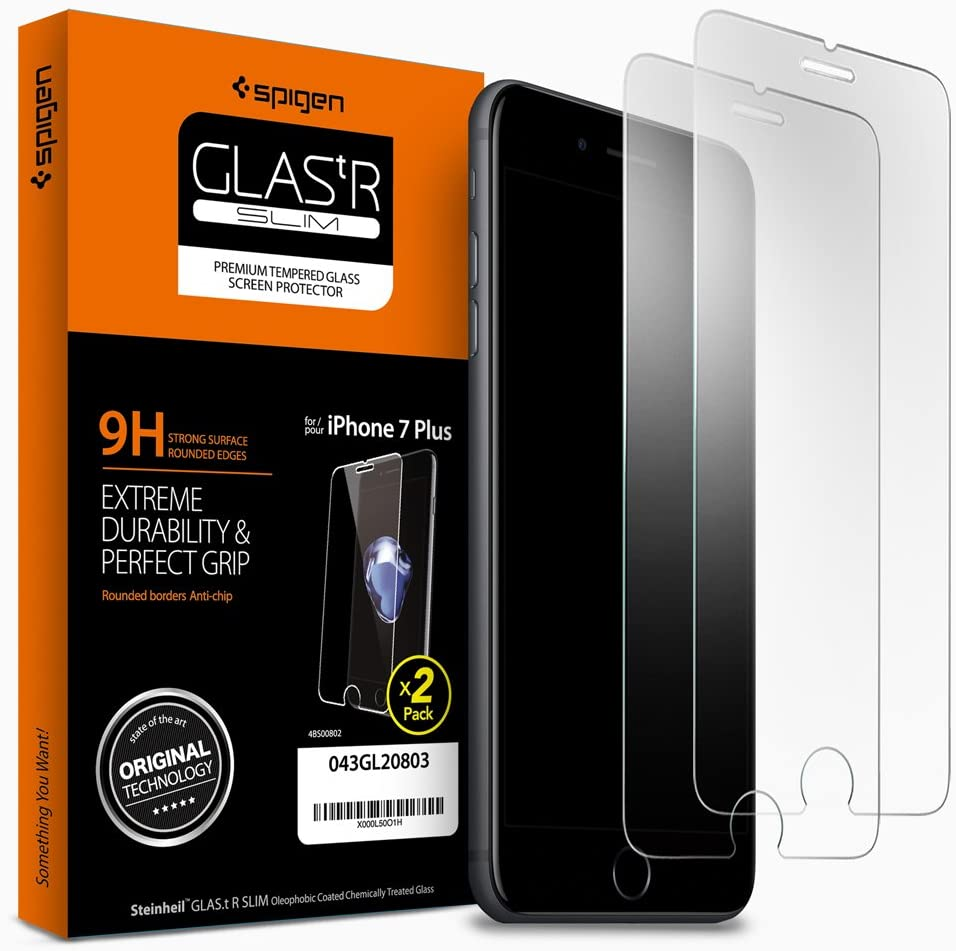 Spigen Tempered Glass iPhone 7 Plus Screen Protector [ Case Friendly ] [ 9H Hardness ] for iPhone 7 Plus (2 Pack)